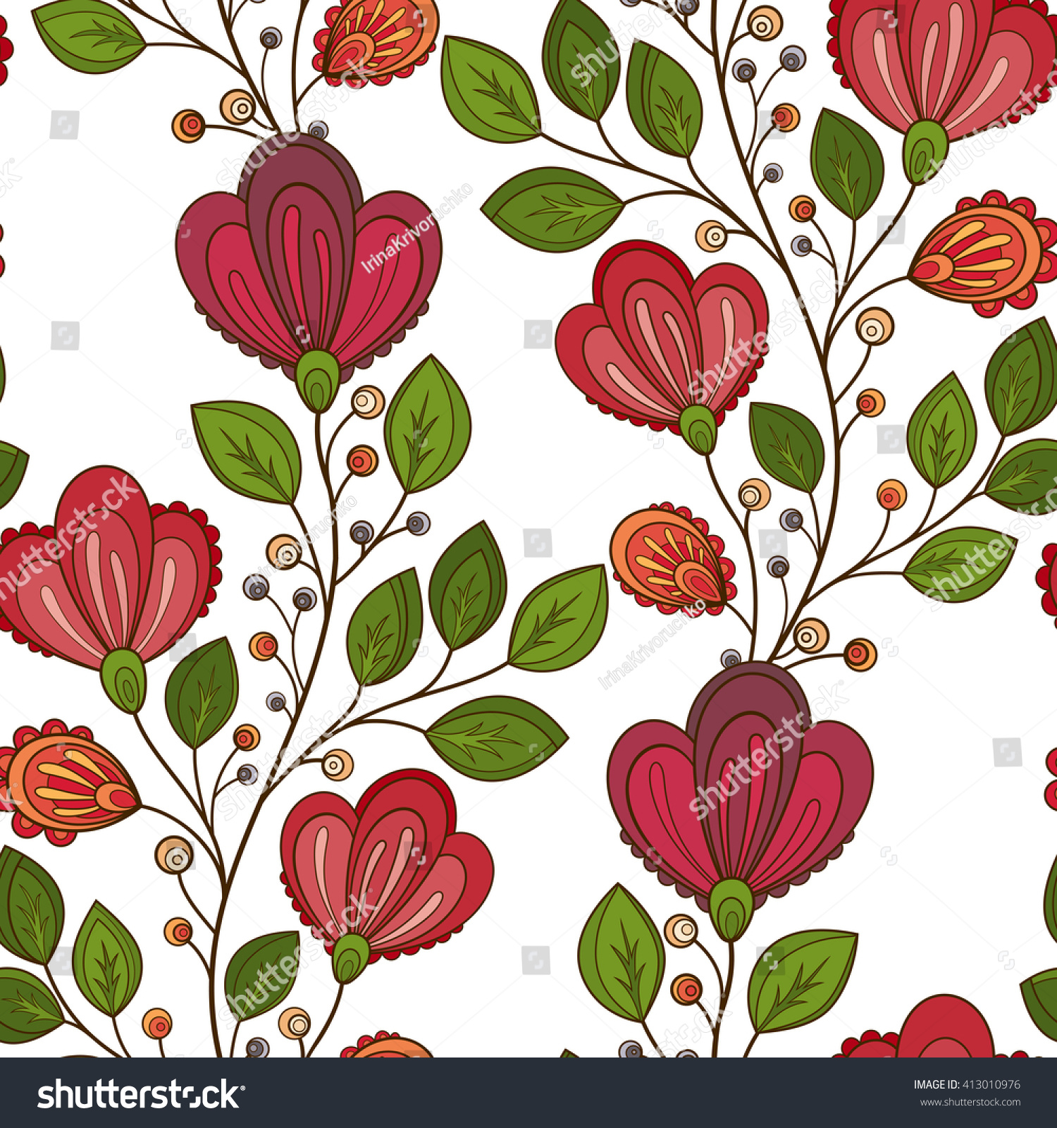 Vector Seamless Floral Pattern Hand Drawn Stock Vector (2018 ...