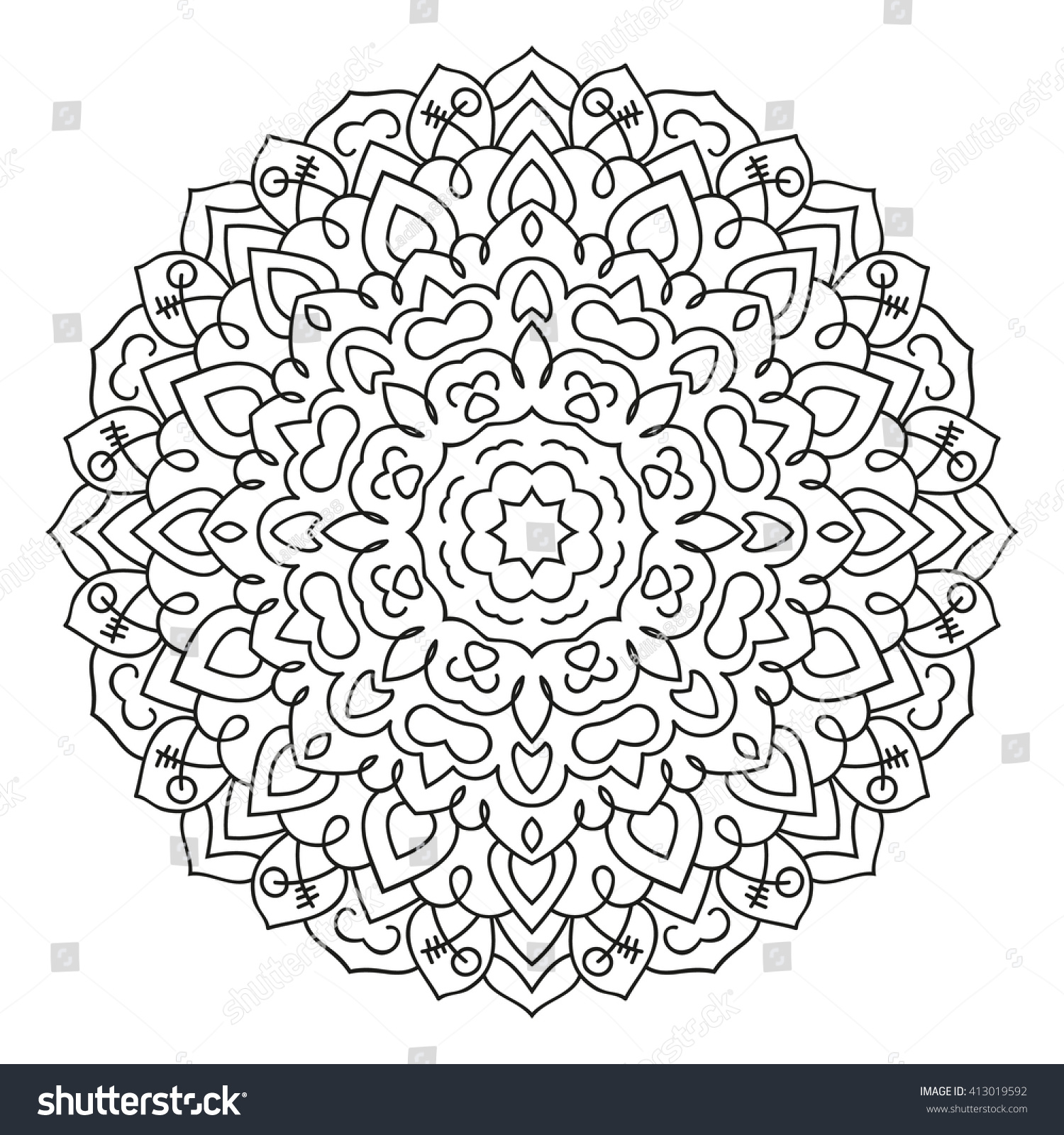 East Circular Pattern Mandala Coloring Page Stock Photo (Photo ...
