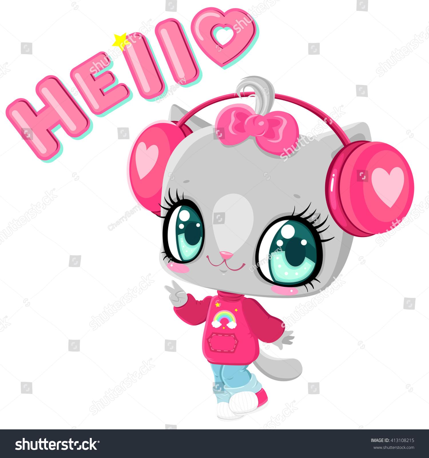 Cute Kitten Headphones Cat Listening Music Stock Vector ...