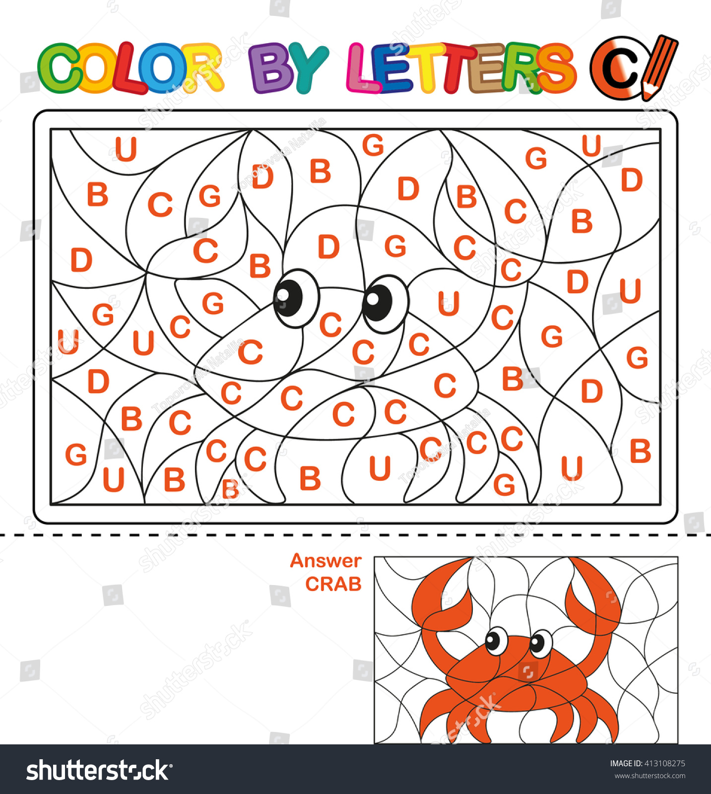 puzzle kids color by letters vector stock vector 413108275