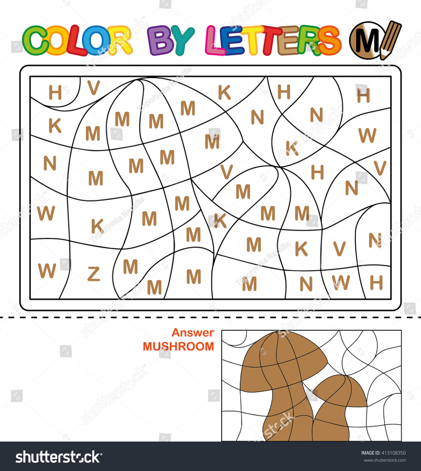 Puzzle Kids Color By Letters Vector Stock Vector 413108350