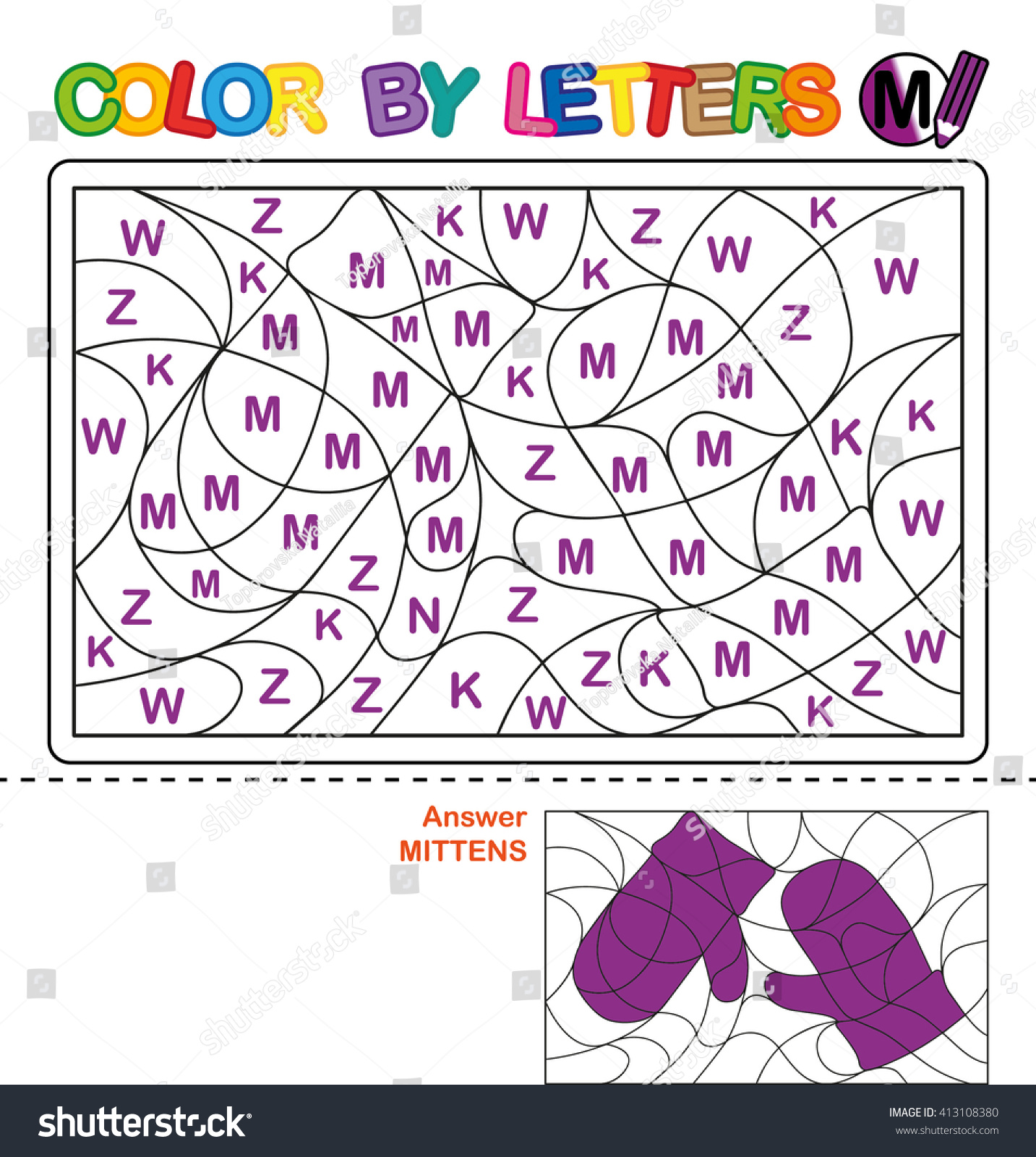 Puzzle Kids Color By Letters Vector Stock Vector 413108380
