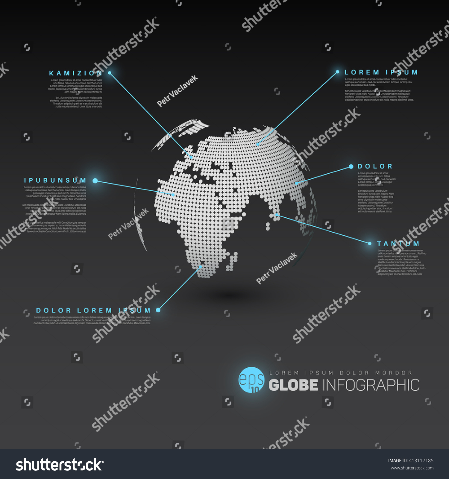 World map globe pointer marks dark stock vector 413117185 world map globe with pointer marks dark version with light blue effect pointers sciox Choice Image