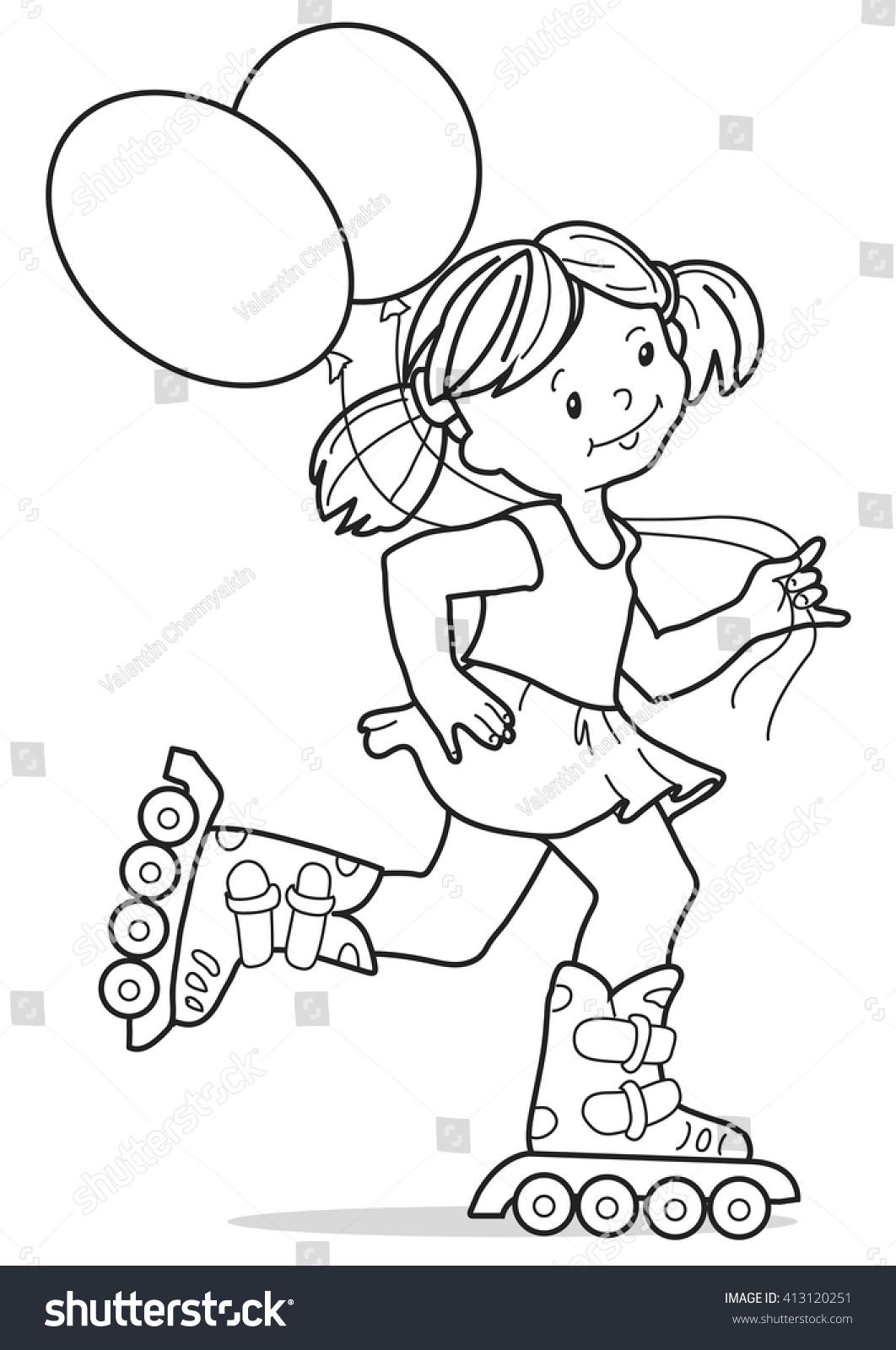 Girl On Rollers Little Girl Short Stock Vector Royalty Free