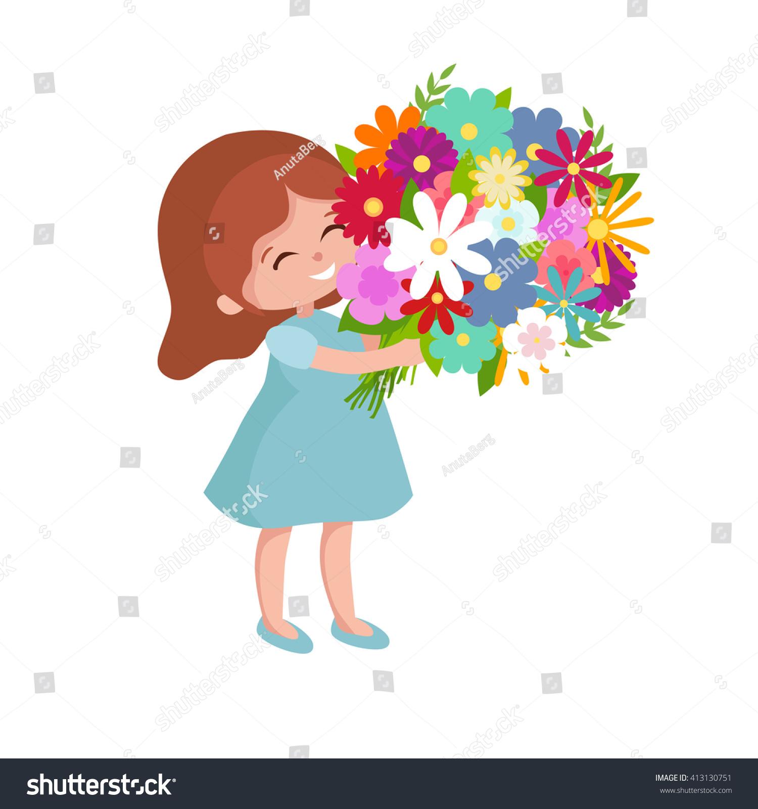Cartoon Happy Baby Girl Festive Bouquet Stock Vector Royalty Free