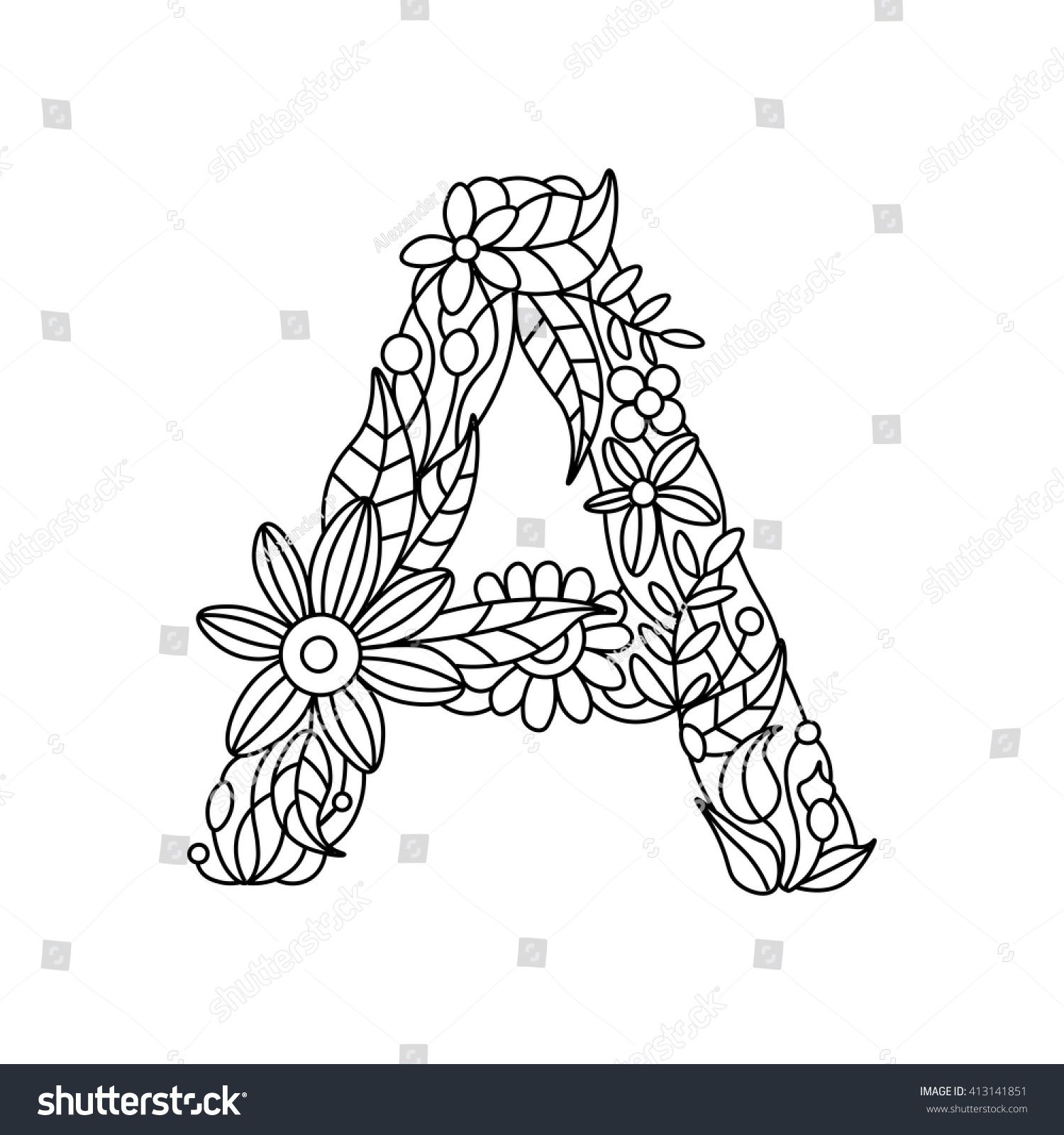 Floral Alphabet Letter Coloring Book Adults Stock Vector 413141851 ...