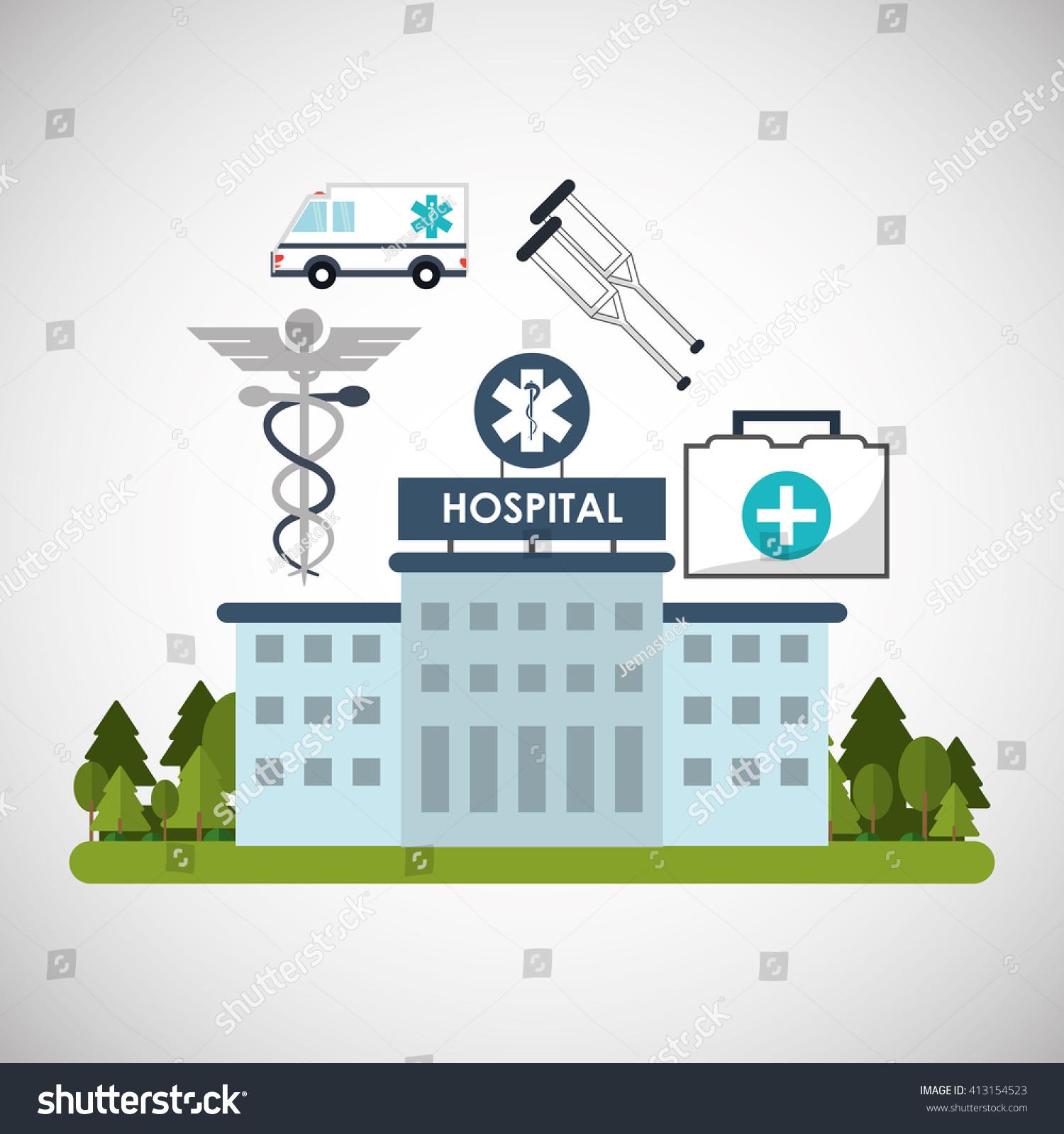 Hospital Design Healthy Center Emergency Concept Stock
