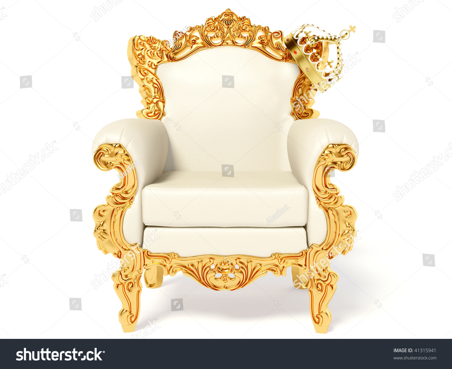 Gold Throne Crown On White Stock Illustration 41315941