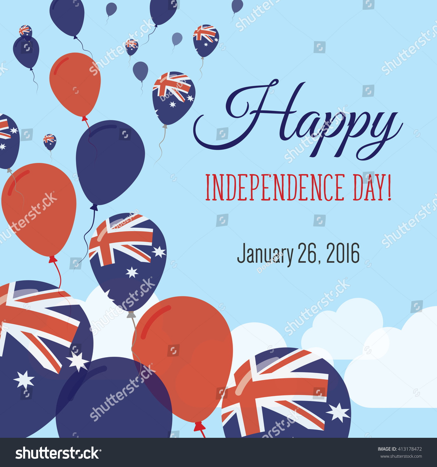 Australia Independence Day Greeting Card Flying Stock Vector