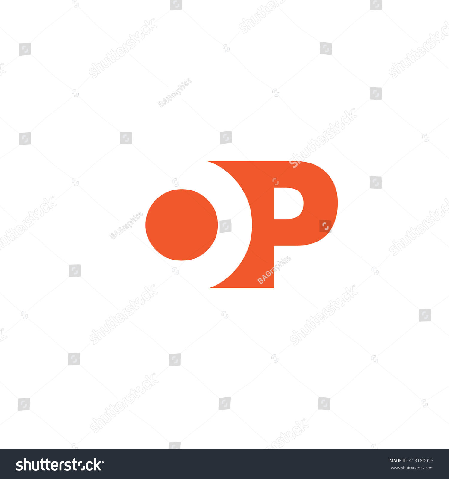 OP Logo Vector Graphic Branding Letter Stock Vector Royalty Free