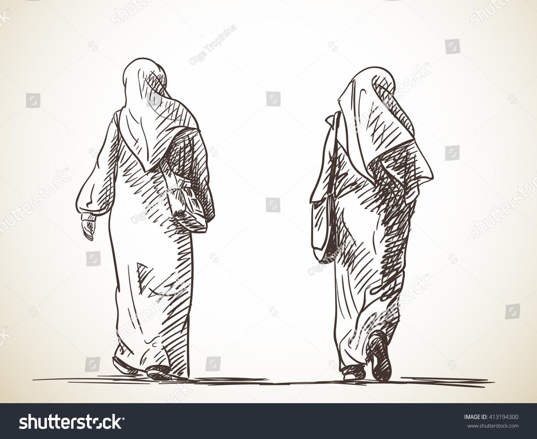 Sketch of two muslim women walking back view hand drawn illustration