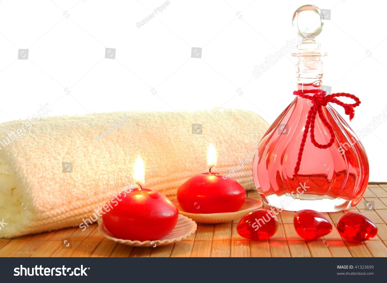 photo decoration with massage bottle candles