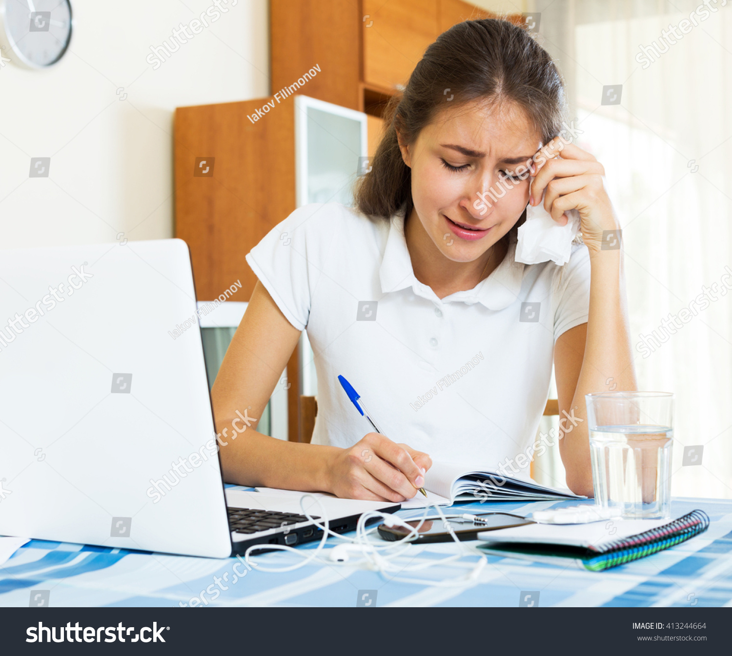 Crying college student