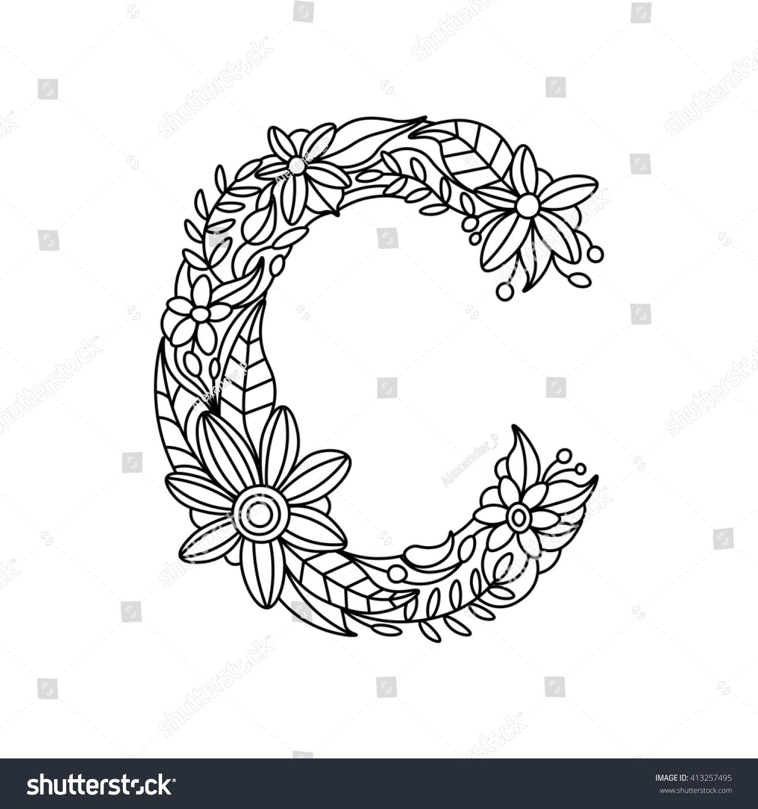 Floral Font Number Coloring Book For Adults Raster Illustration
