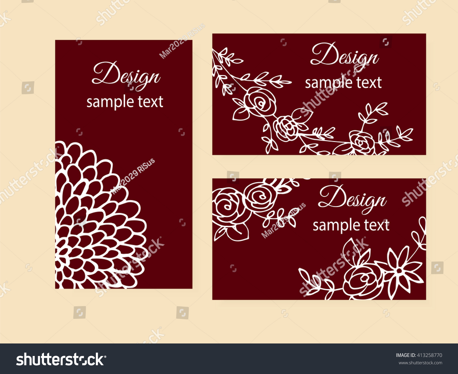 Set Typographic Gift Tags Business Card Stock Vector 413258770 ...