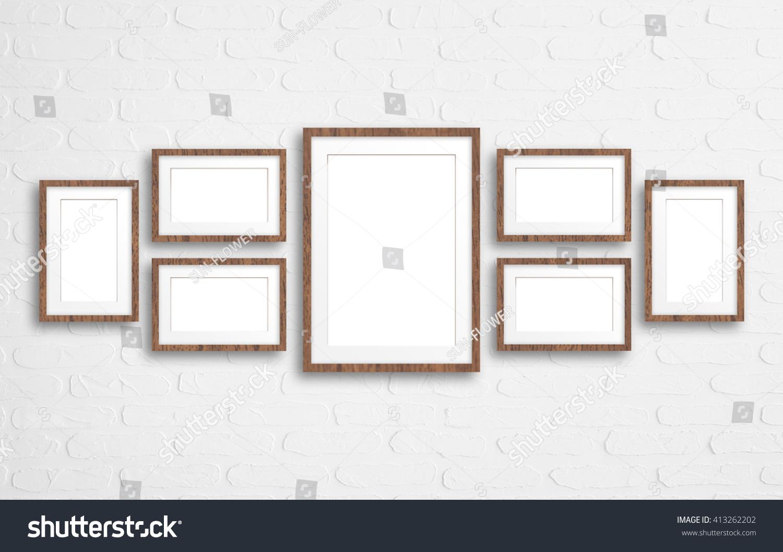 Blank Photo Frames Collage On Bricks Stock Photo (Edit Now ...