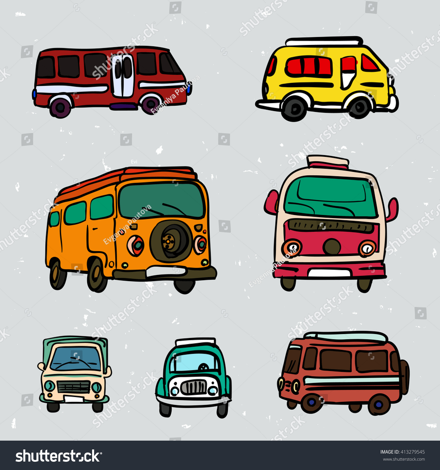 Hippie Buses Set Colorful Vector Hand Drawn Hippie Stock Vector 413279545
