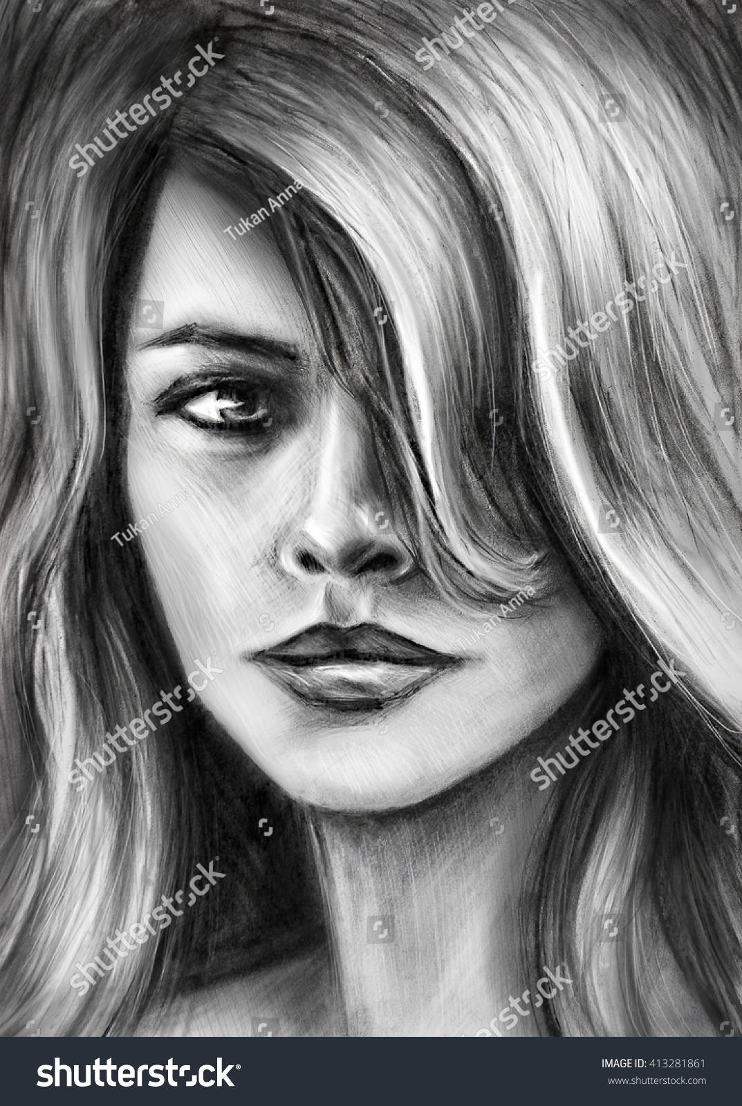 Girl pencil drawing charcoal drawing blackandwhite stock