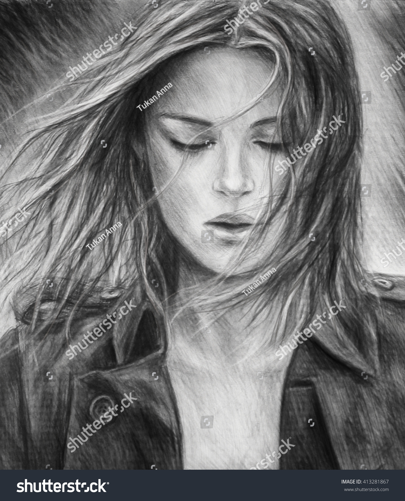 The girl pencil drawing a charcoal drawing black and white portrait of