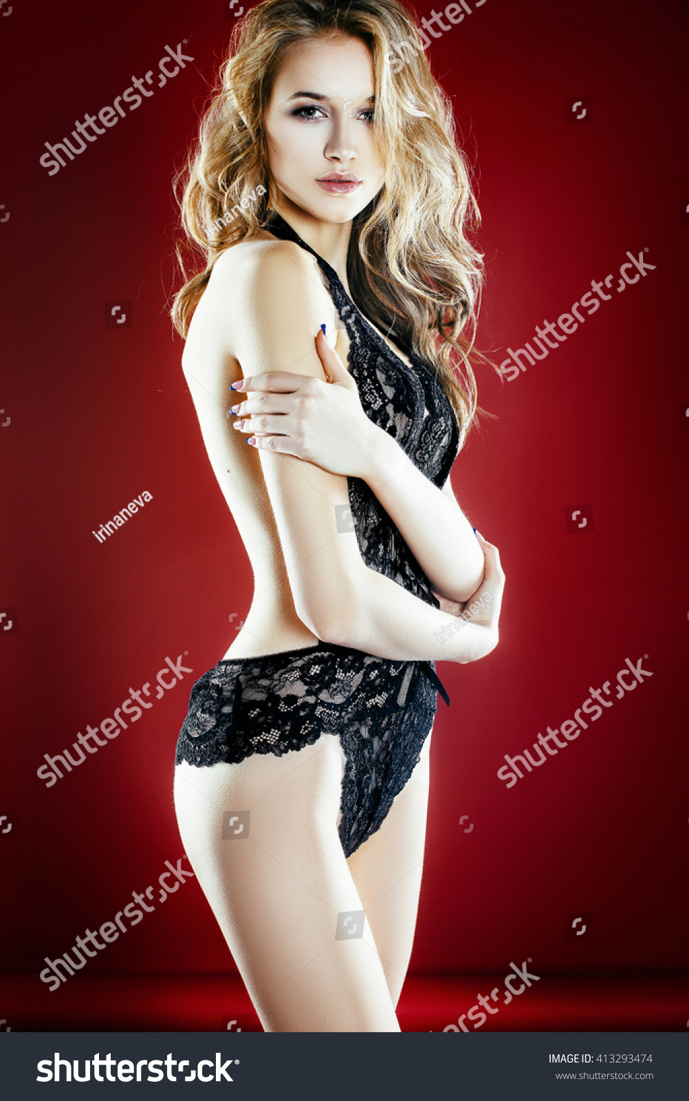 Sexy Beautiful Smiling Blonde Girl Big Stock Photo Edit Now