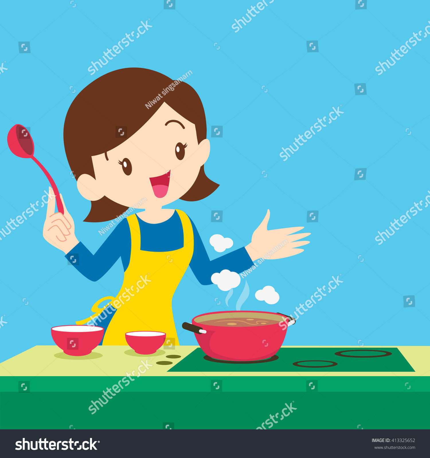 Selection of cartoons on cooking kitchens food and eating - Vector Illustration Of A Mother Cooking Woman Cooking And Presenting At Kitchen