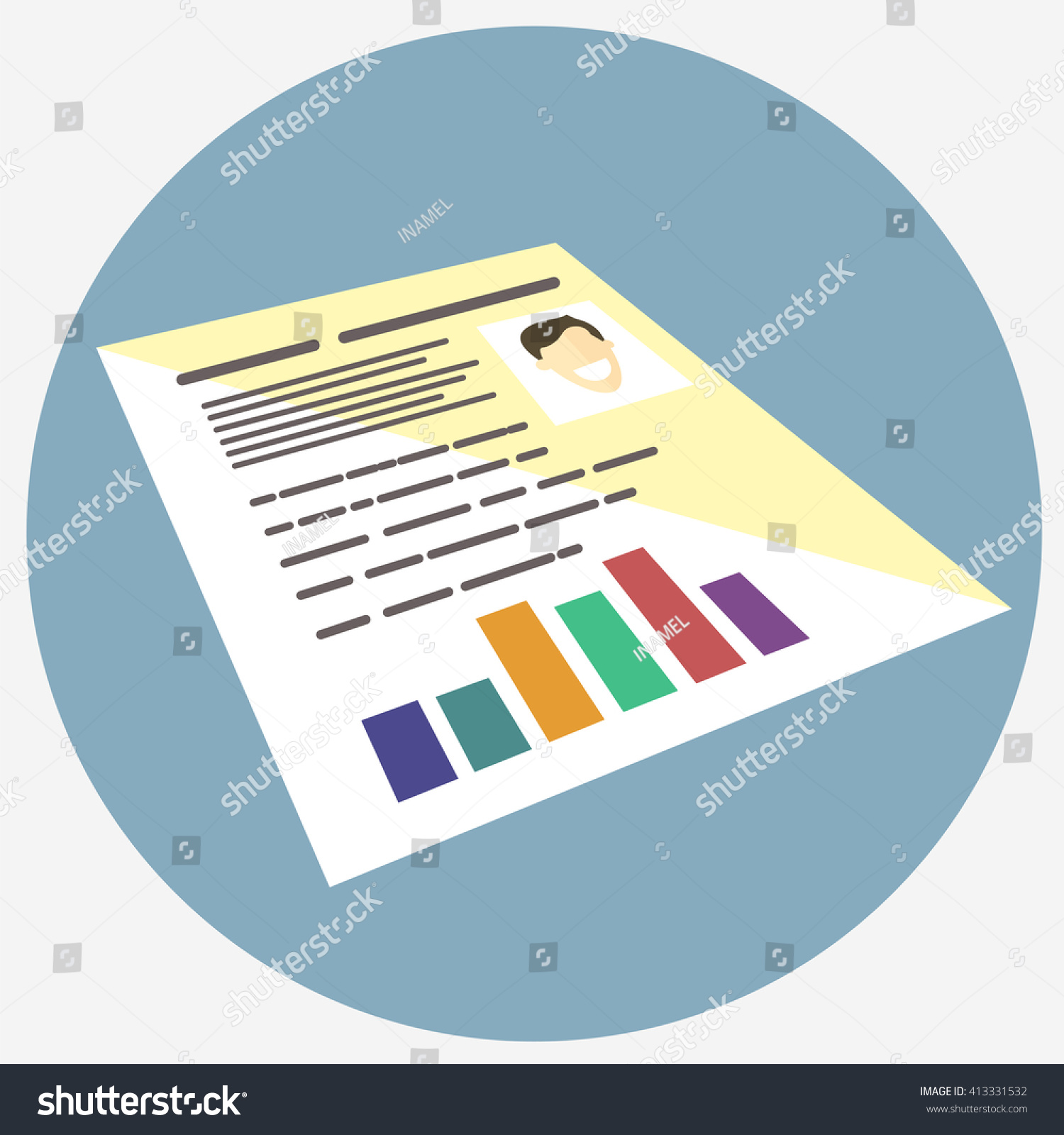 Colored Resume Icon Cover Letter Sign Stock Vector (Royalty ...