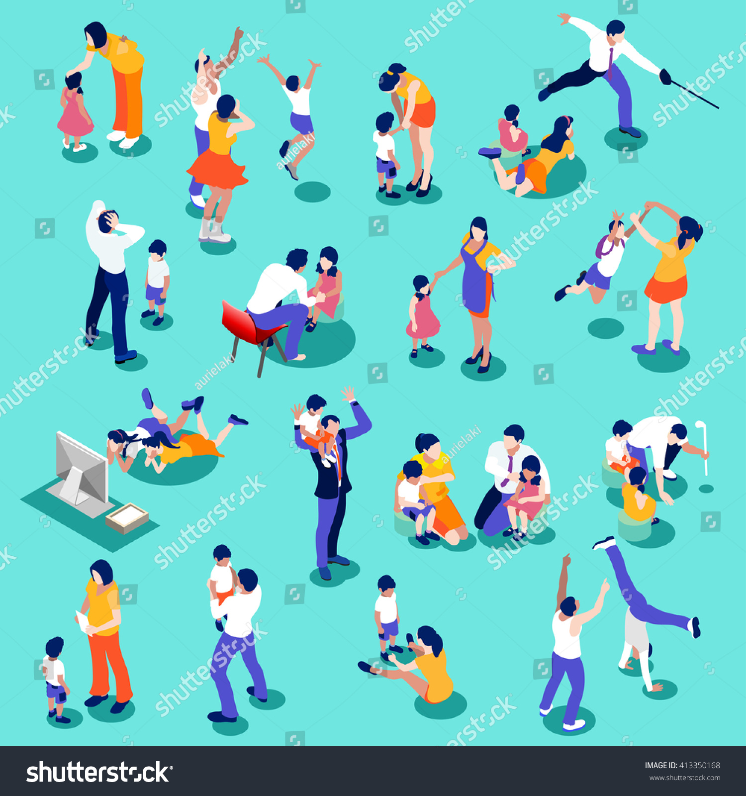 family time set 3 d flat isometric stock vector royalty free