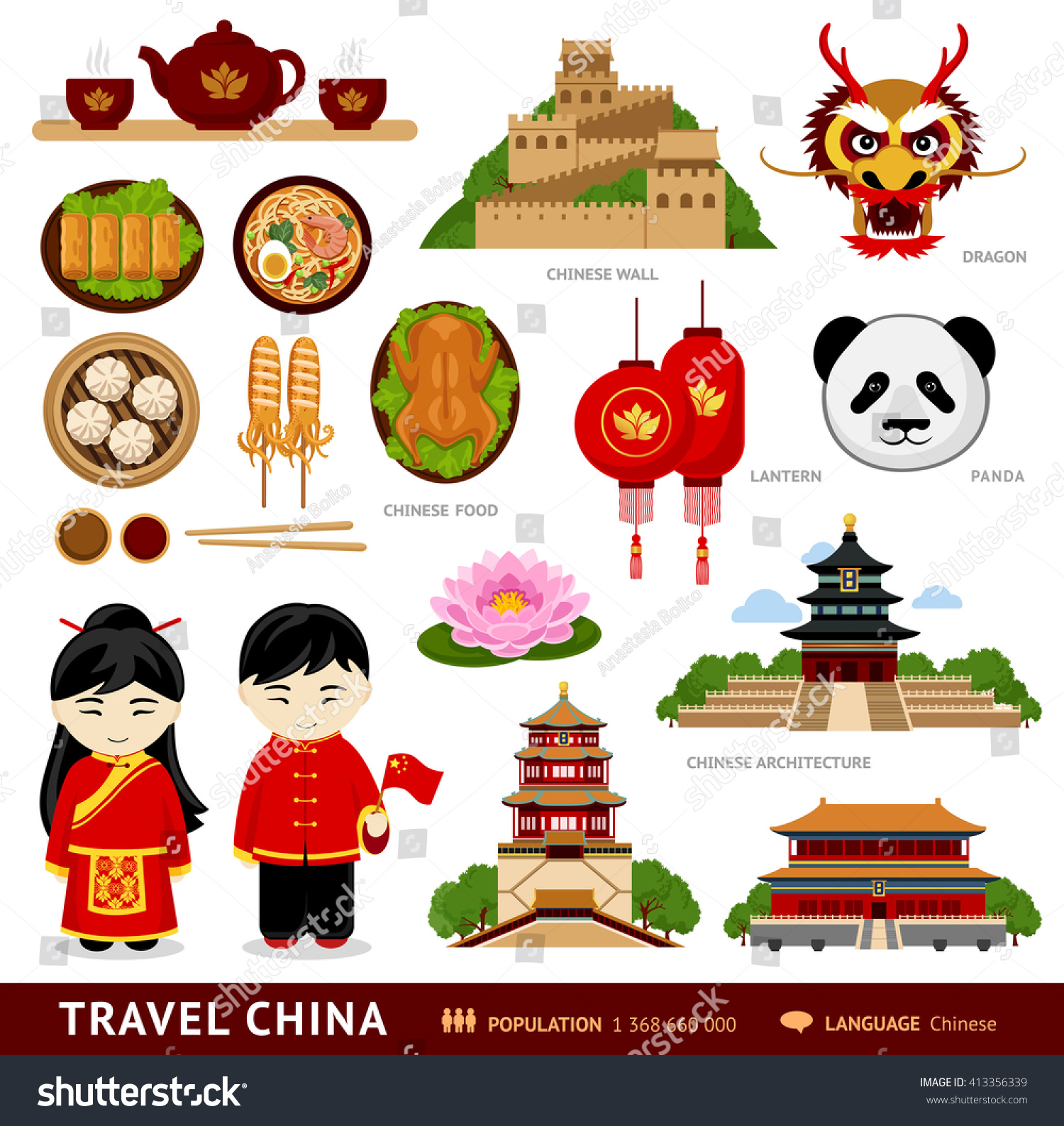 Travel China Set Icons Chinese Architecture Stock Vector Royalty
