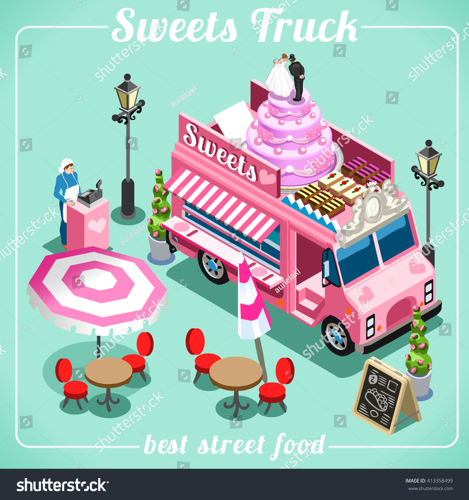 Sweets Breakfast Bakery Food Truck Delivery Stock Vector Royalty Free 413358499