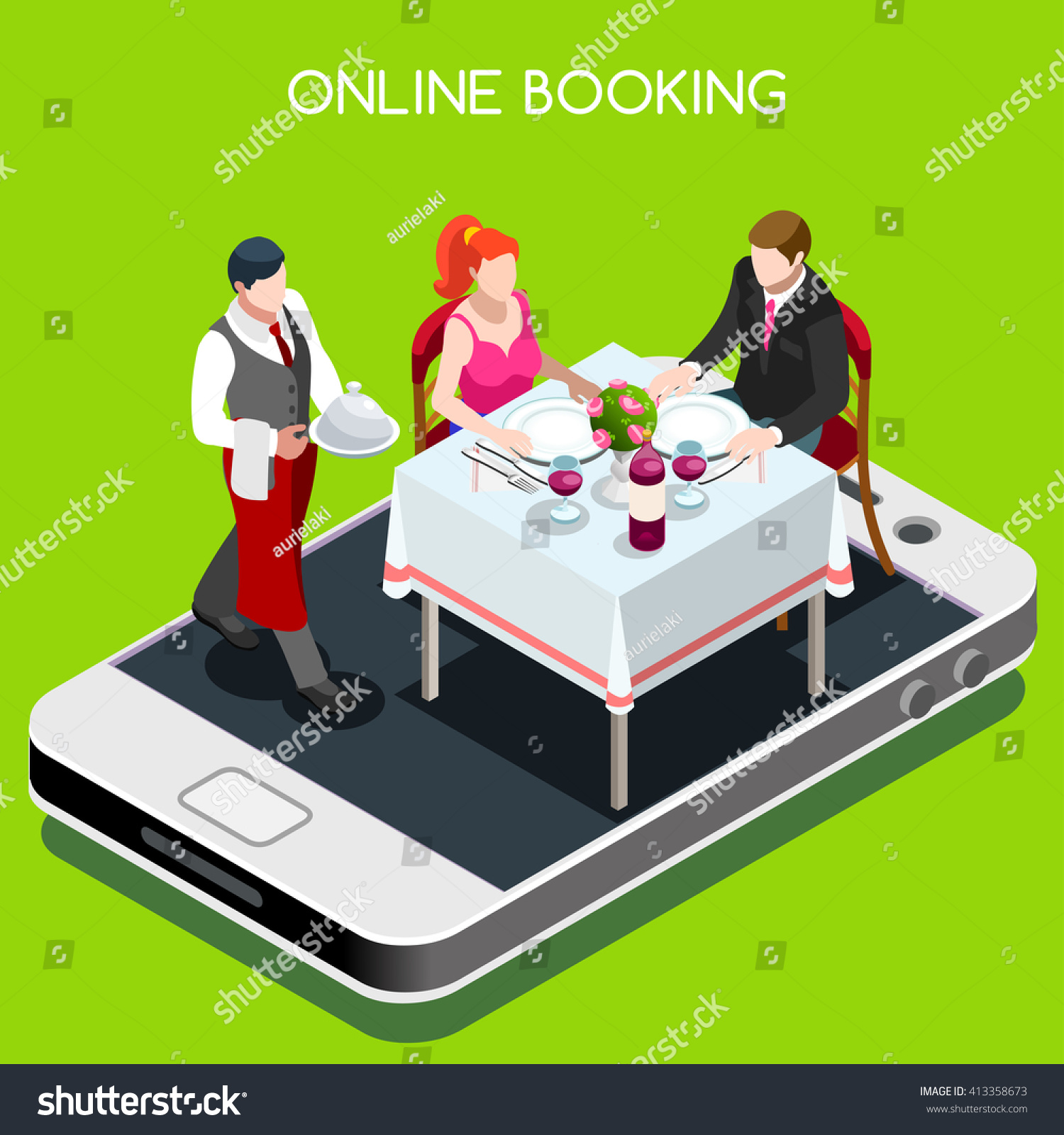 Online web book dining table dinner stock vector 413358673 shutterstock - Book a restaurant table online ...