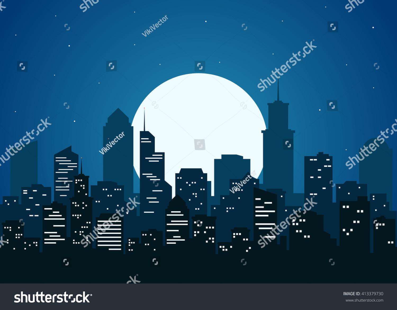 night city vector illustration dark urban stock vector