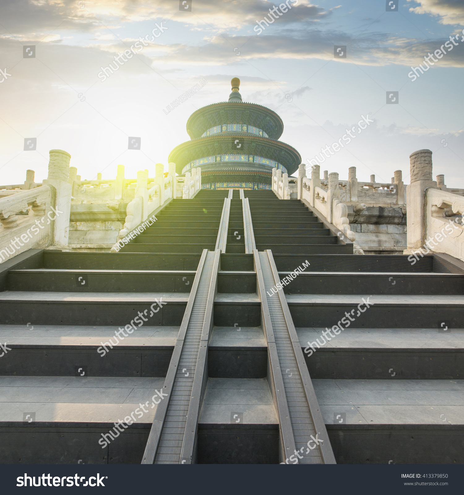 China Temple Heaven Famous Attraction Chinese Stock Photo Royalty