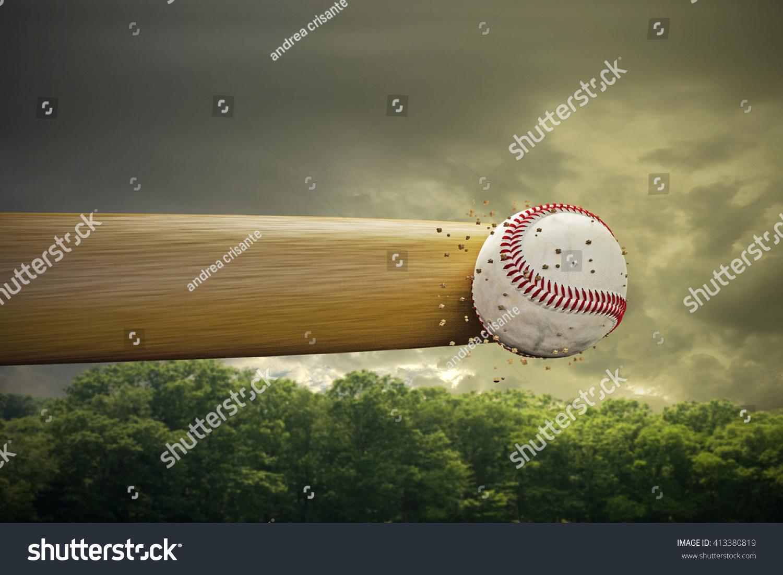 3d illustration baseball bat smashing baseball stock illustration