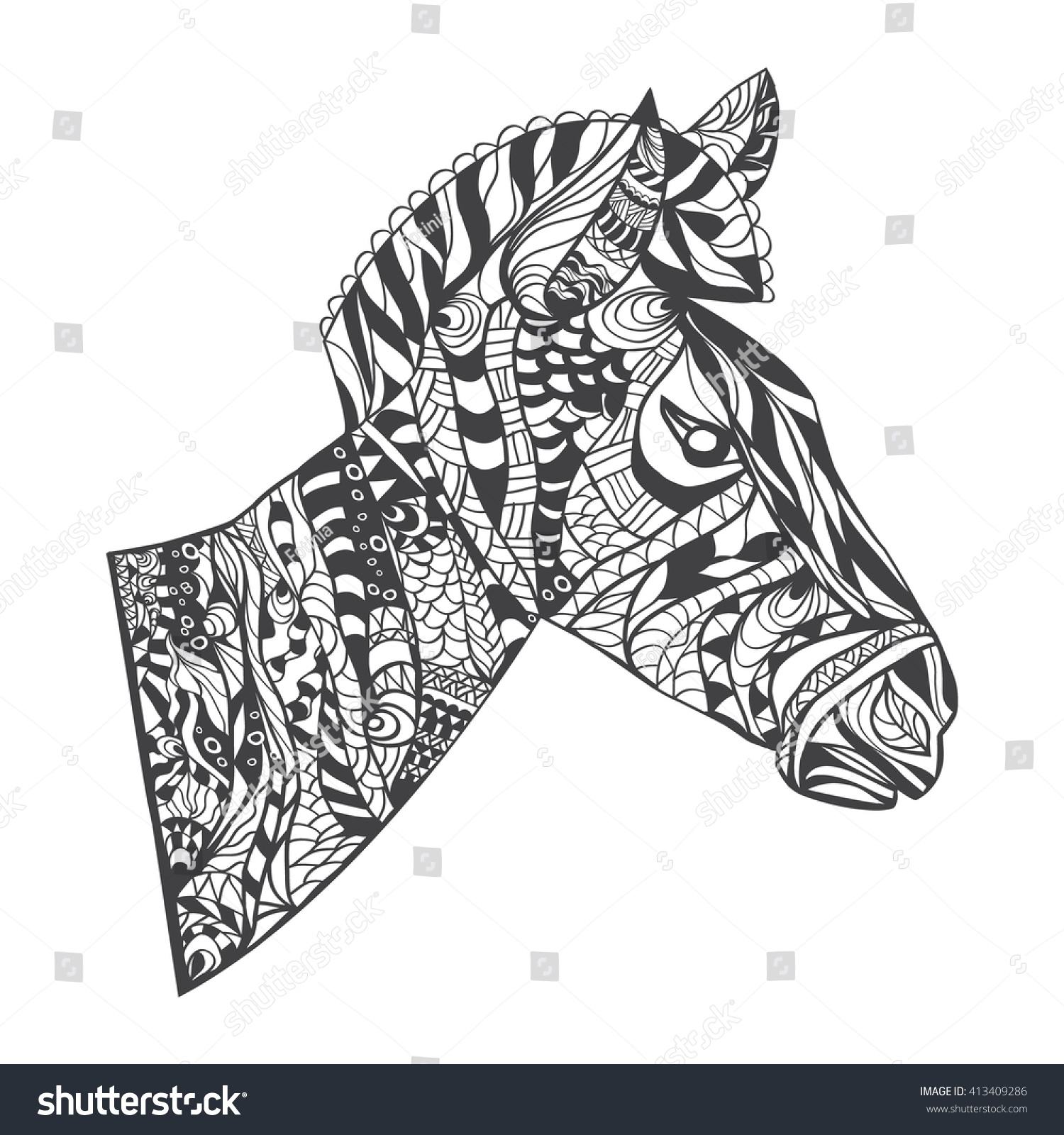 vector zentangle style zebra head illustration stock vector