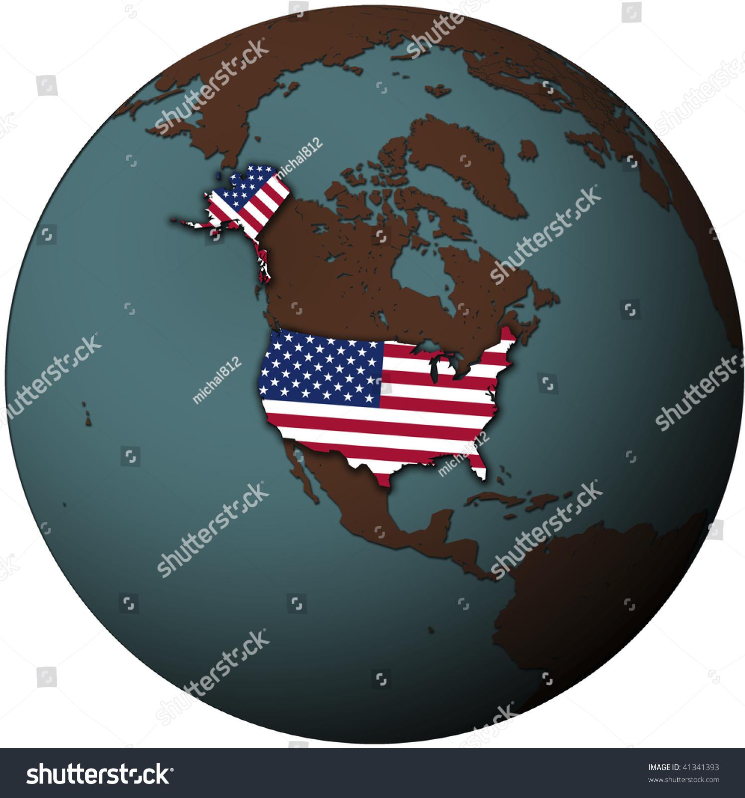 Usa Flag On Map Earth Globe Stock Illustration Shutterstock - Usa globe map