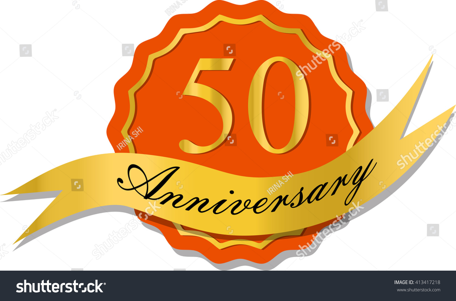 50th anniversary badge shadow on red stock vector 413417218 50th anniversary badge with shadow on red starburst and yellow number 50 fifty buycottarizona Choice Image