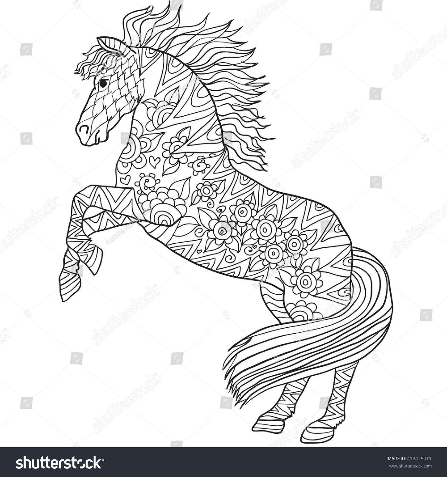 Hand Drawn Coloring Pages Horse Illustration Stock Vector 413426011 ...