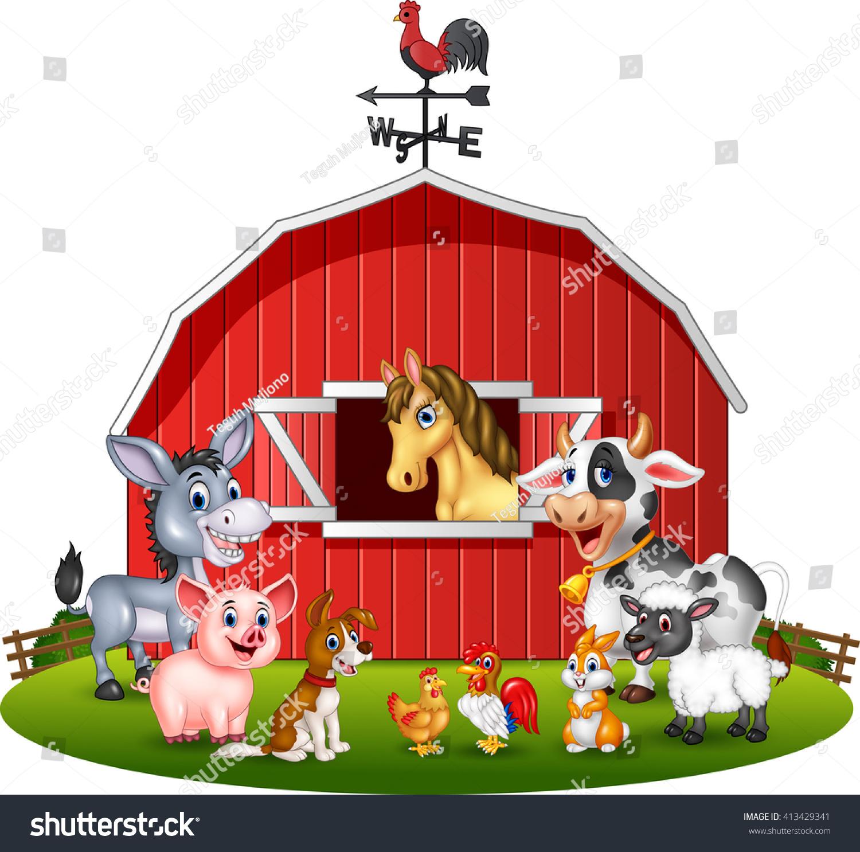 Illustration Farm Background Animals Stock Vector 413429341