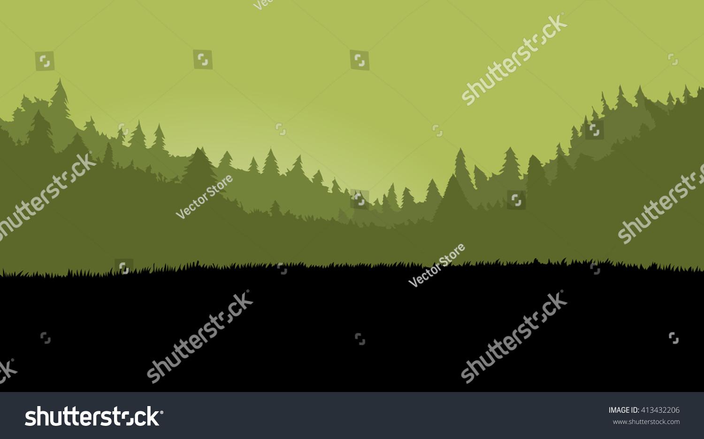 Misty Forest Landscape Games Background Dark Stock Vector Royalty Free 413432206