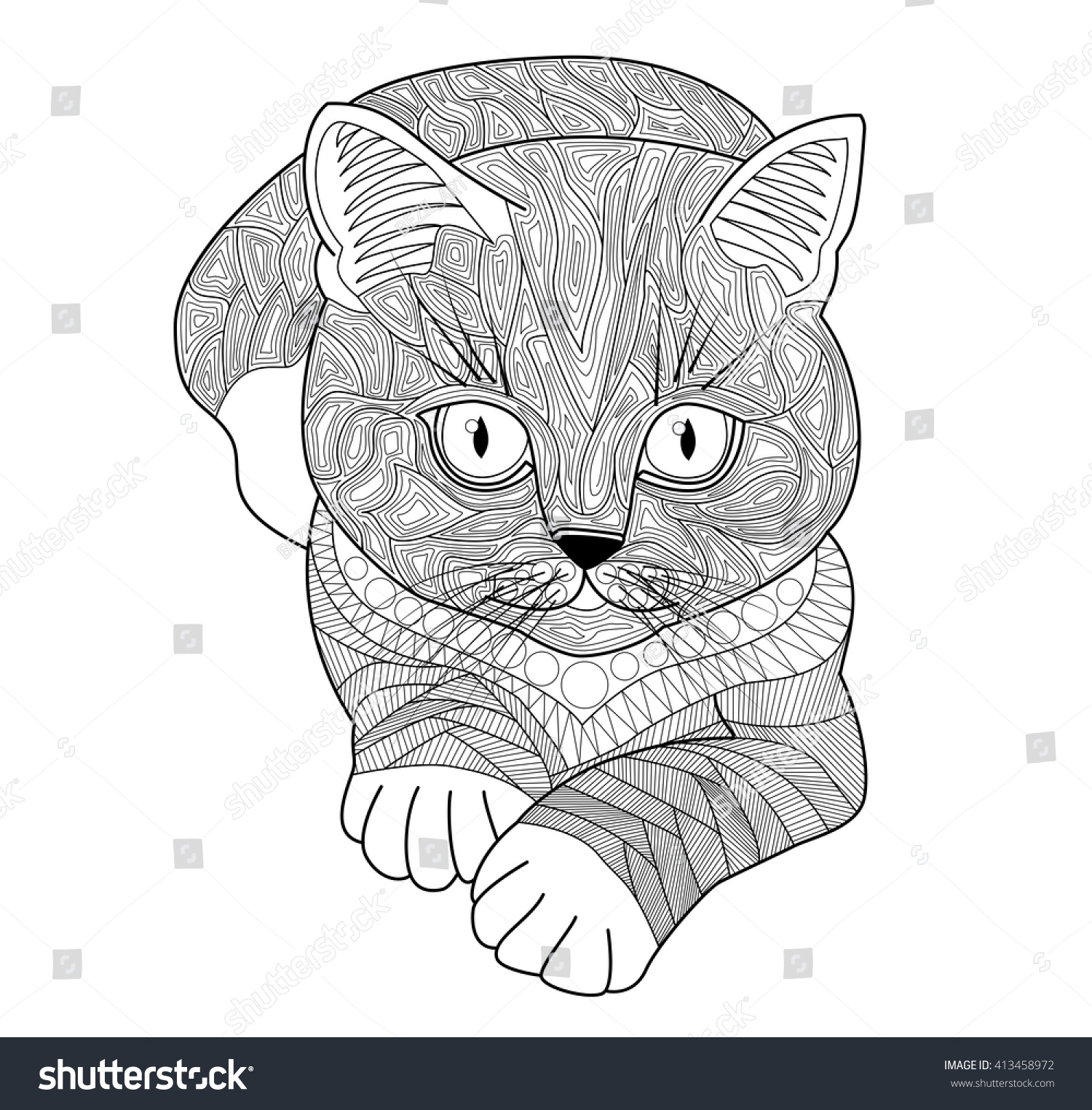 Coloring Pages For AdultsHand Drawn Cat With Stripes And Spots Scribbles Zentangle