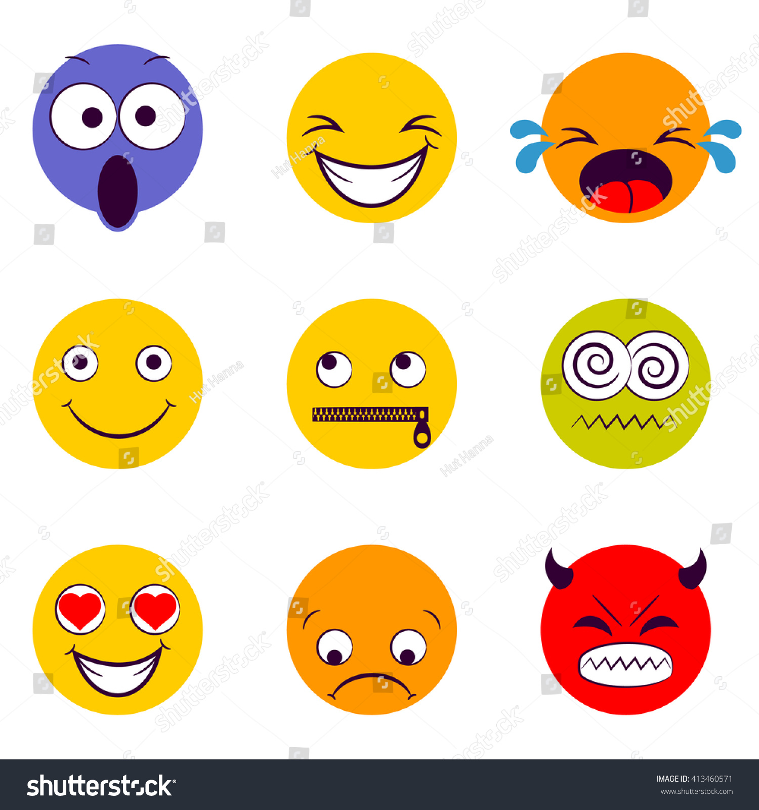 smile icon smiley faces expressing different stock vector
