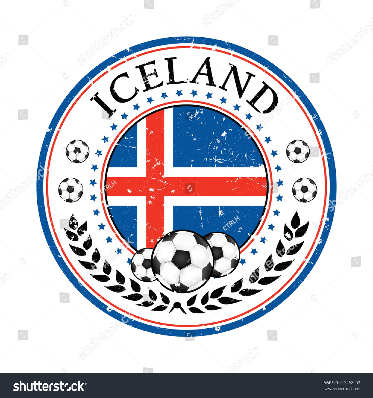 printable grunge iceland soccer label containing a soccer ball and the national flag print