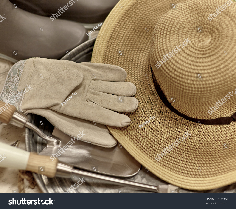 Garden Work Gloves Sun Hat Rubber Stock Photo (Royalty Free ...