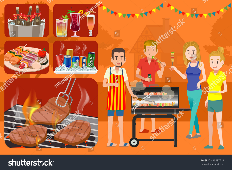 House Backyard Outdoor Picnic Party Barbecue Stock Vector - Backyard bbq party cartoon