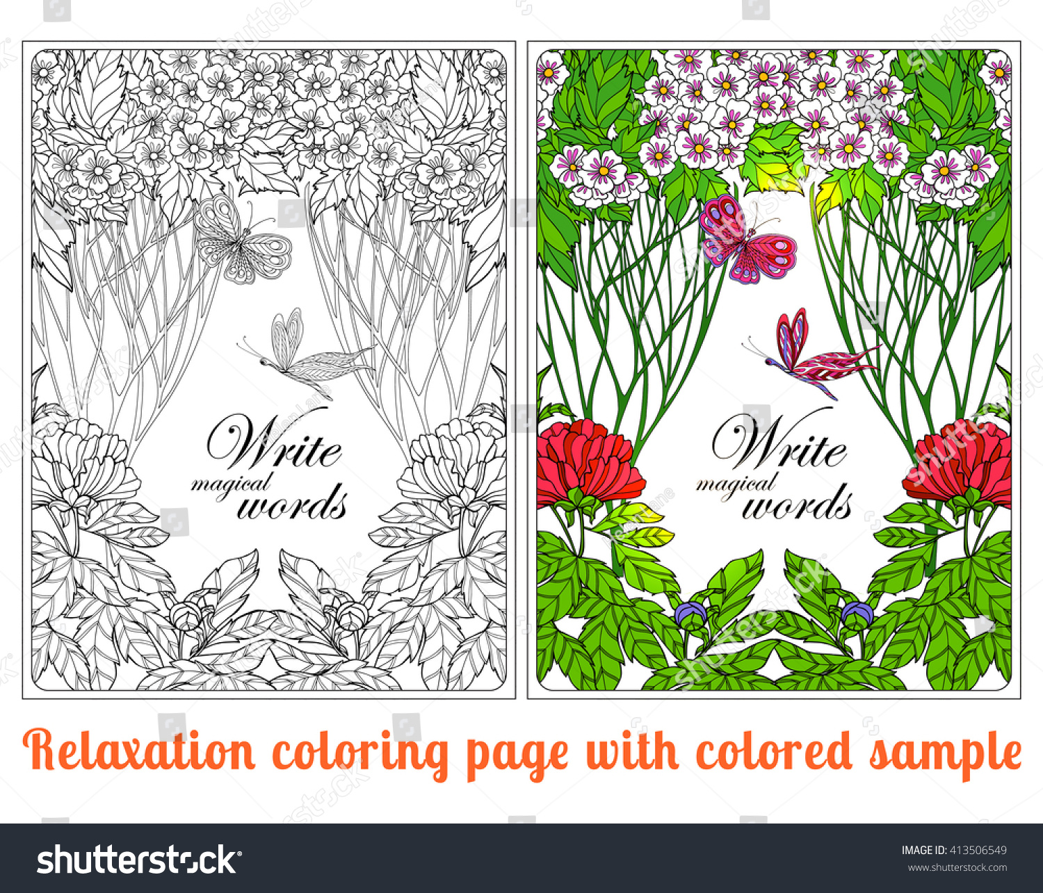 Decorative Flowers Birds Butterflies Coloring Book Stock Photo ...
