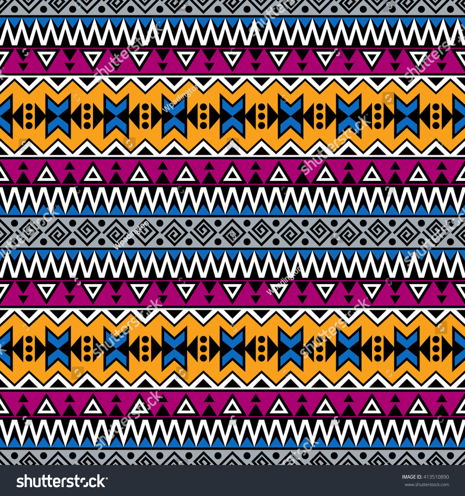 Background geometric mexican patterns seamless vector zigzag maya - Abstract Seamless Pattern In Boho Style Vector Wallpaper With Ethnic Aztec Ornament Aztec Pattern