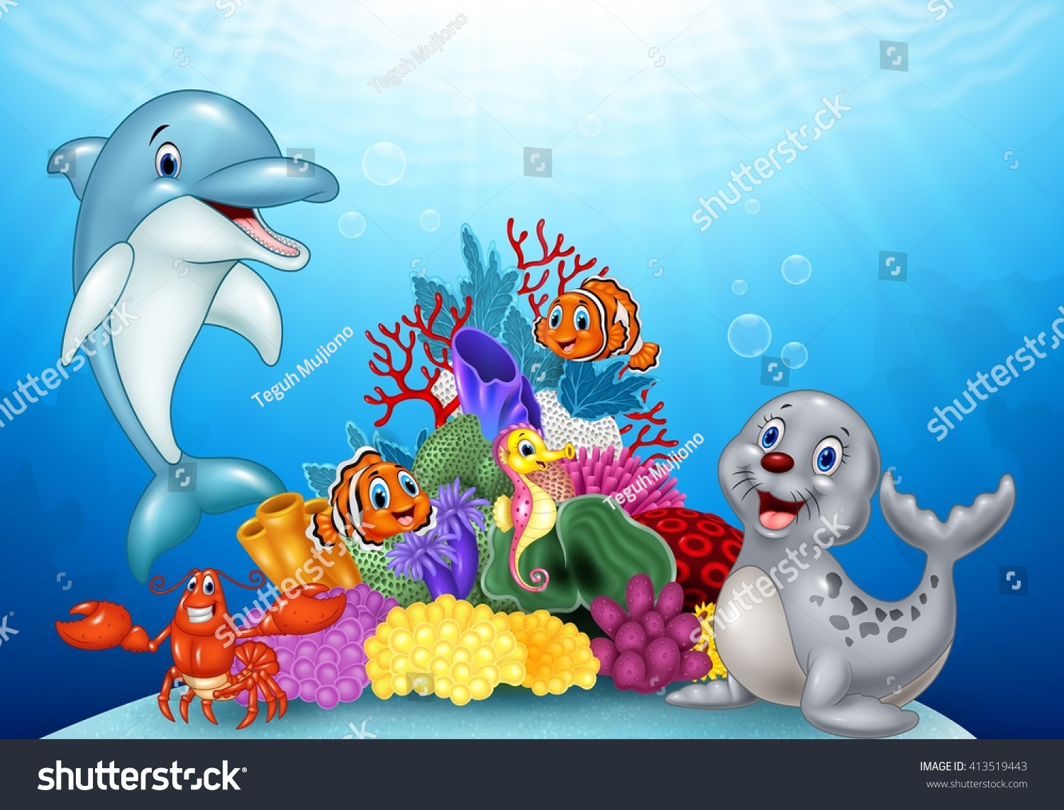 Cartoon tropical fish with Beautiful Underwater World #413519443