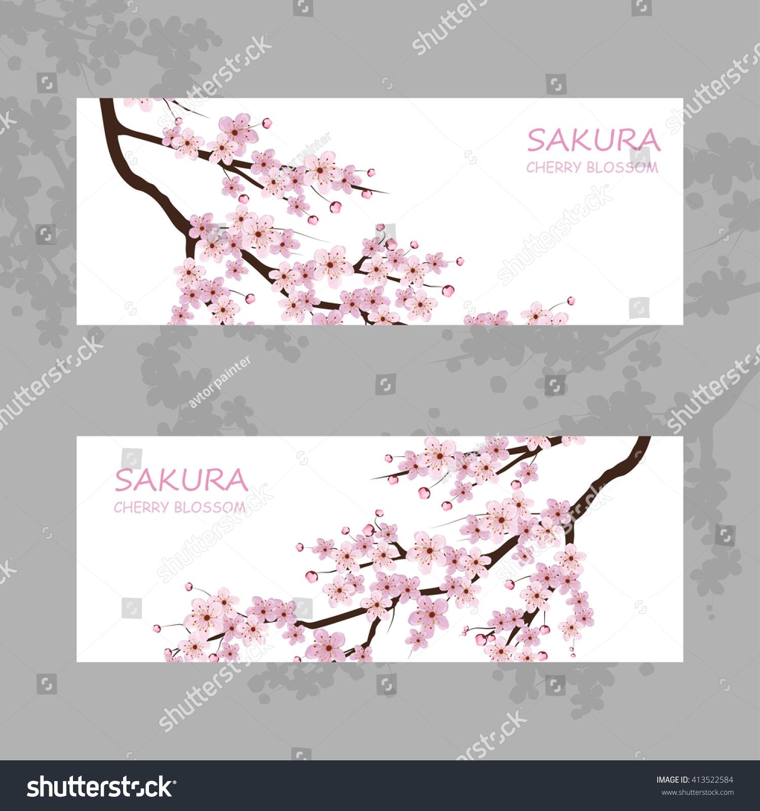 Cherry blossom pink sakura flowers stock vector 413522584 cherry blossom pink sakura flowers dhlflorist Images