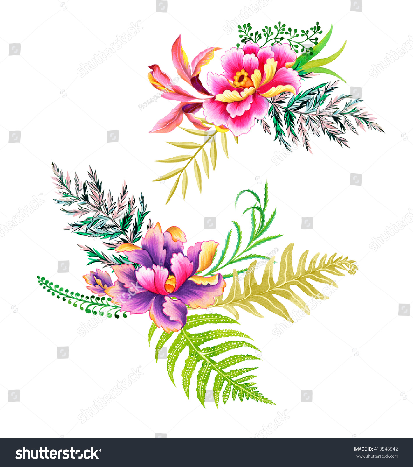 Painted Chinese Bouquets Garden Flowers Isolated Stock Illustration ...