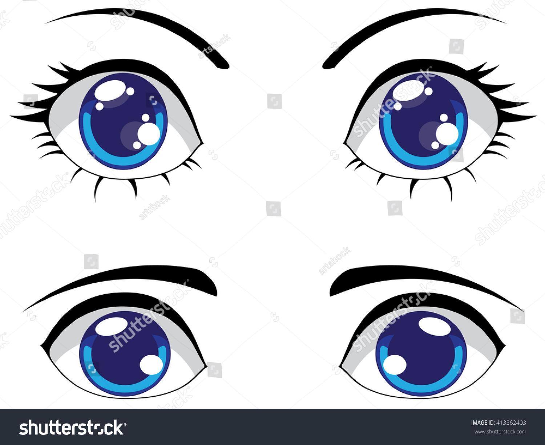 Big Cartoon Eyes Blue Color Female Stock Vector 413562403